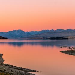 Zonsondergang bij Tekapo, Nieuw Zeeland