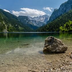 Zicht op de Dachstein vanaf de Gosausee