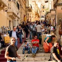 straatbeeld van Noto, Sicilie,