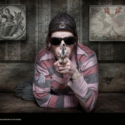 See the blind man shooting at the world