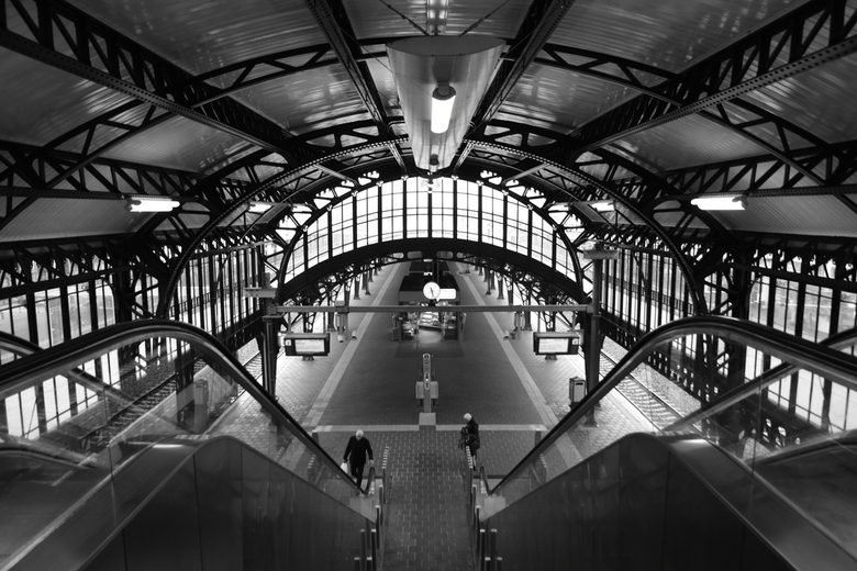 Den Bosch Centraal - Perron van station Den Bosch Centraal, in zwart/wit