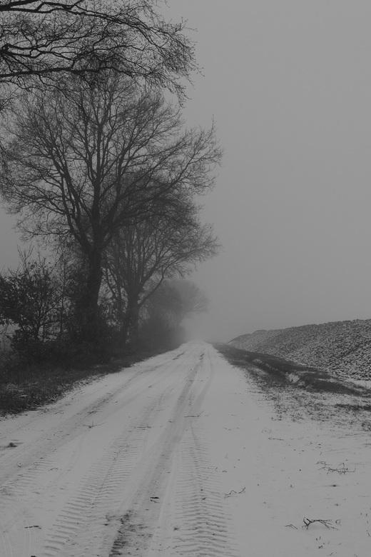 De weg naar het onbekende - Nog een winterse foto omdat het zo mooi was afgelopen zondag, de combinatie van mist, sneeuw en stilte in Drenthe
