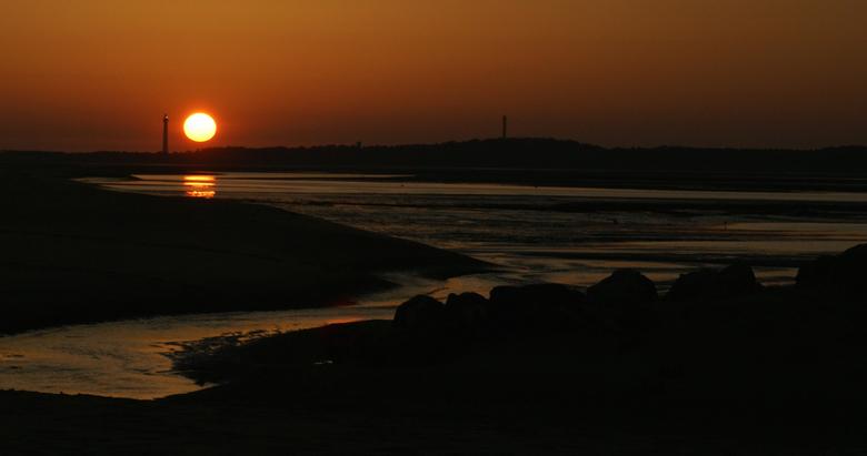 Zonsondergang op het strand -