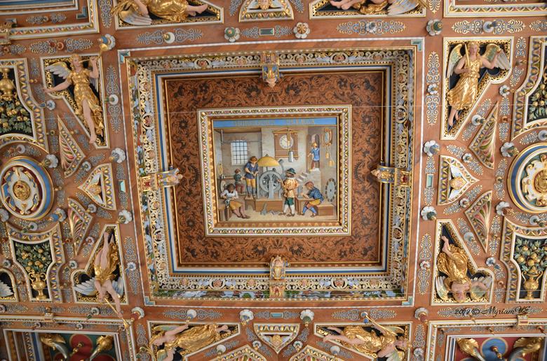 Denemarken: Fredericksborg slot  plafond - Een gedeelte uit een plafond in het Frederic borg slot.  Fijn detail.