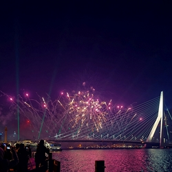 Nationaal vuurwerk Erasmusbrug Rotterdam