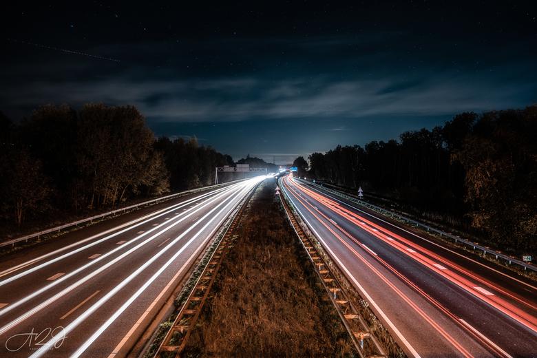 Night Traffic - Lange sluitertijd boven de A28 thv Hoogeveen