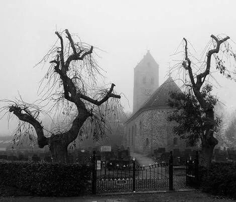 Vitus Kerk in de mist. (crop)