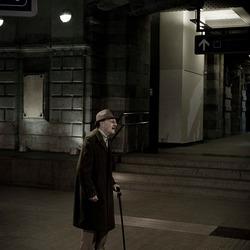 Old man at trainstation...