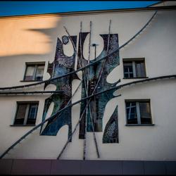 muurkunstwerk in Krakau