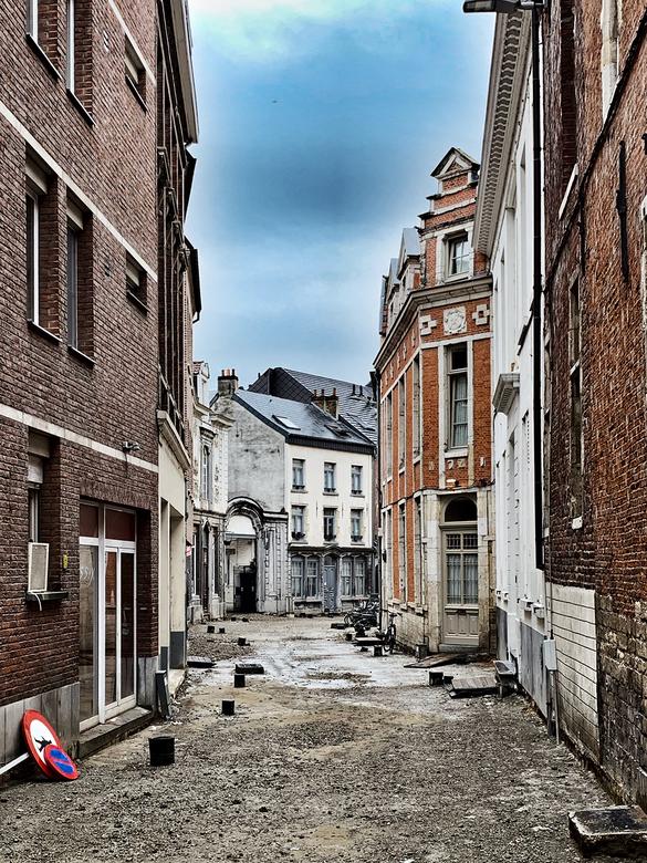 Opengebroken straat in het centrum van Leuven - Opengebroken straat in het centrum van Leuven.