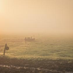 zonsopkomst in de mist in Drenthe