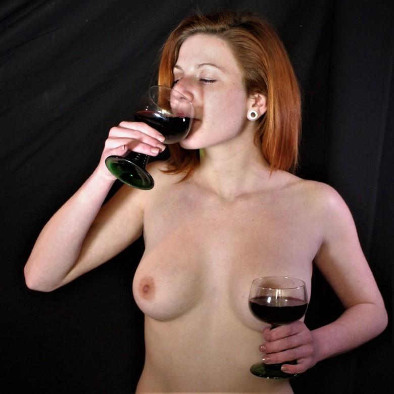 Drinking wine -