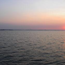 Schemering op het Ijsselmeer