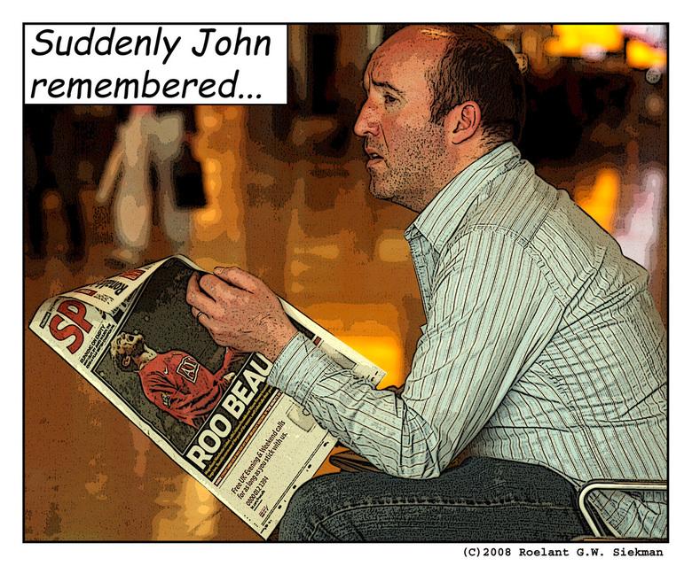 Suddenly John remembered... - ...what he had forgotten at the altar.<br /> <br /> Stukje pop-art bij die ik per ongeluk opliep toen ik de donkere kl