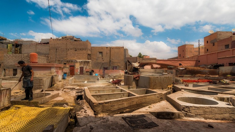 centuries of experience - Work at an African tannery. The leather skin spread across the work floor. Some coming still from the basins. The stench of