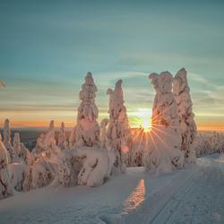 Zonsondergang in Lapland