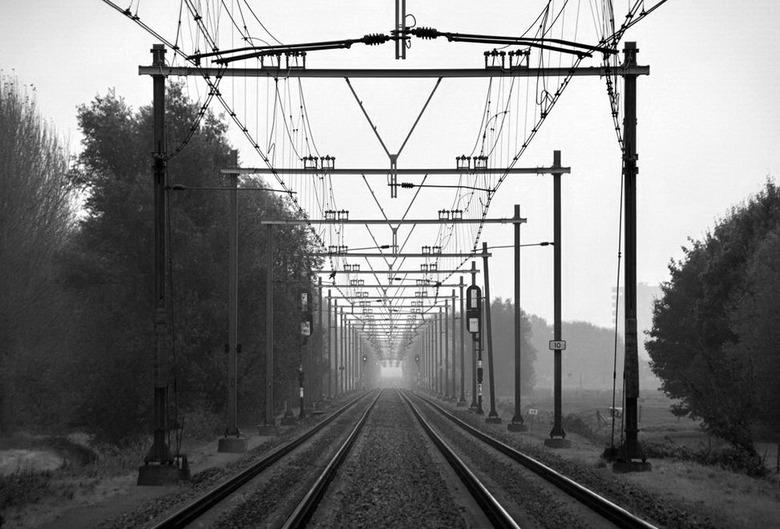 Treinspoor - Een leuke oefening voor het perspectief, de lijnen lopen naar het midden.