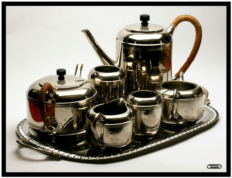 Thee En Koffie Set Uit De Jaren 30 Macro Foto Van