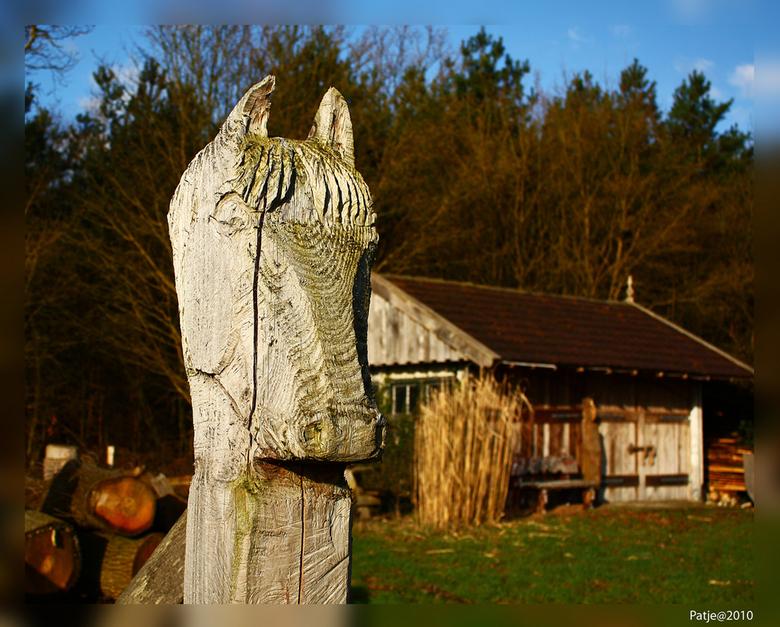 Poortwachter - 1 van de twee paardenhoofden die aan een hek voor het huisje zitten. Later volgt er wel eentje met het hek en beide hoofden