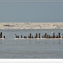 Bevroren Waddenzee bij Paesens-Moddergat