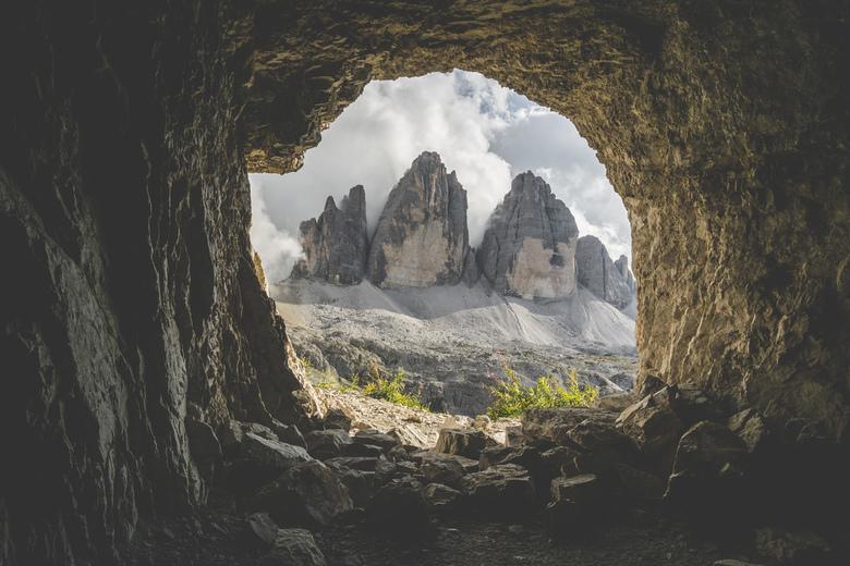 Framed. - De Drei Zinnen gezien vanuit een grot.<br /> <br /> Volg me gerust op:<br /> https://www.facebook.com/ShotByCanipel/<br /> https://www.i
