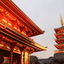 Japanse tempel in het avondlicht