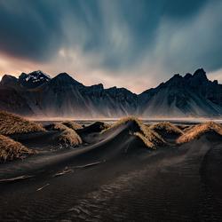 zonsondergang bij vestrahorn