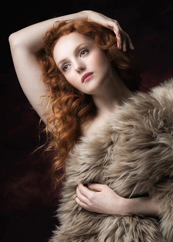natural redhead in a sheepskin