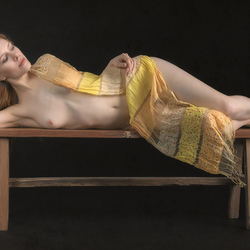 lying nude with scarf