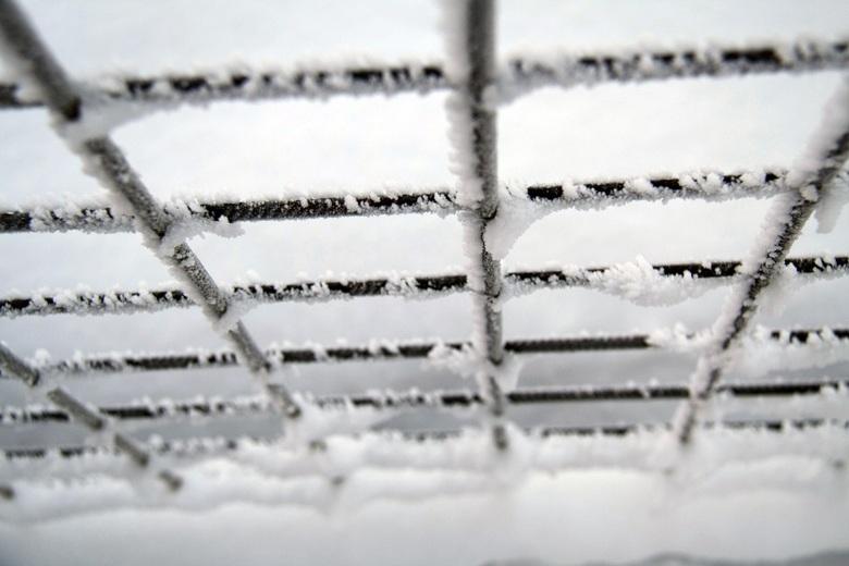 Hek - Een hek met sneeuw