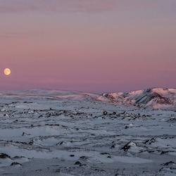 Winters 'maanlandschap' op IJsland