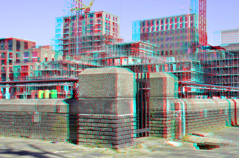 Nieuwbouw Little Coolhaven Parksluizen Rotterdam 3D anaglyph stereo red/cyan  D7000 cha-cha - Nieuwbouw Little Coolhaven Parksluizen Rotterdam 3D<br /