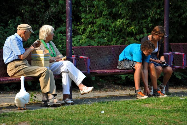 Oud en jong - Oud en jong in een park in Deventer.