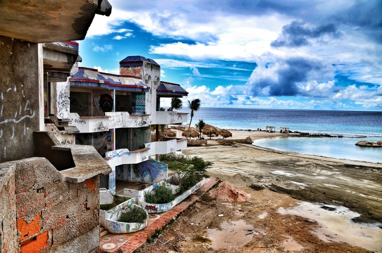 Old ruin of an unfinished hotel from Pablo Escobar -
