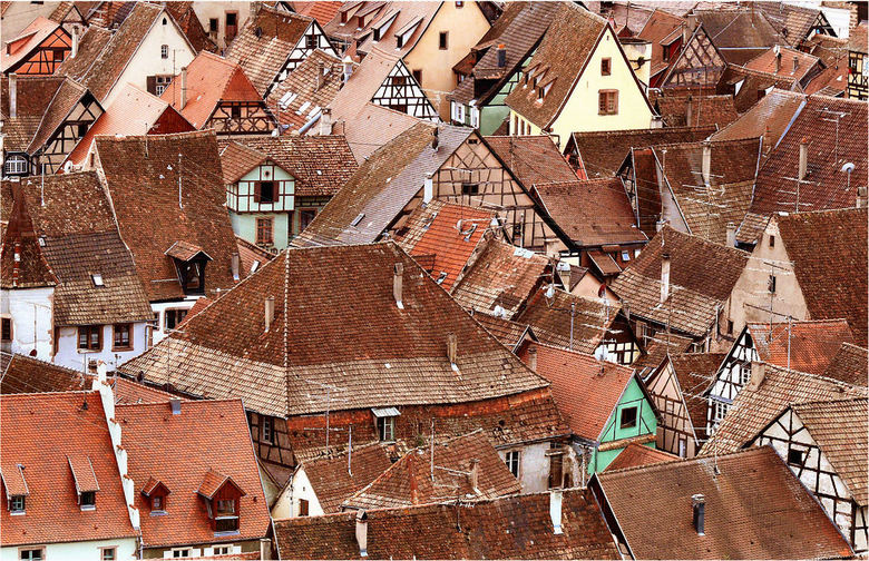 Het dak op - Elzas. Vanaf de Grand Cru Schönenberg heb je een prachtig uitzicht op het Middeleeuwse Riquewihr.Ingezoomd verdwijnt het omliggende lands