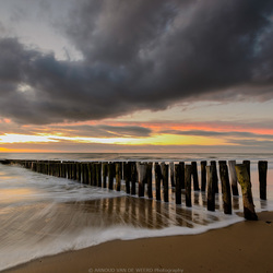 Breakwaters after sunset