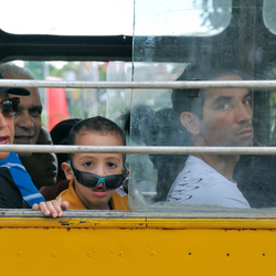 Buspassagiers in Cuba