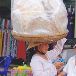 Vrouw uit Vietnam met een mobieltje