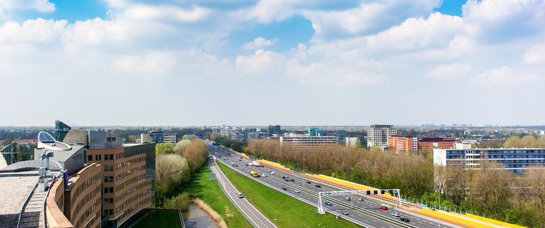 A9 Amstelveen - Panorama/vergezicht over de A9 bij Amstelveen.