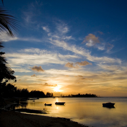 Mauritius sunset silouet
