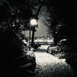 Dark snowy night