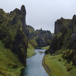 Fjaðrárgljúfur Canyon, IJsland