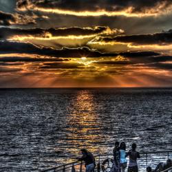 zonsondergang vanuit een cruisschip