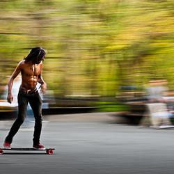 Skateboarding in Central Parc