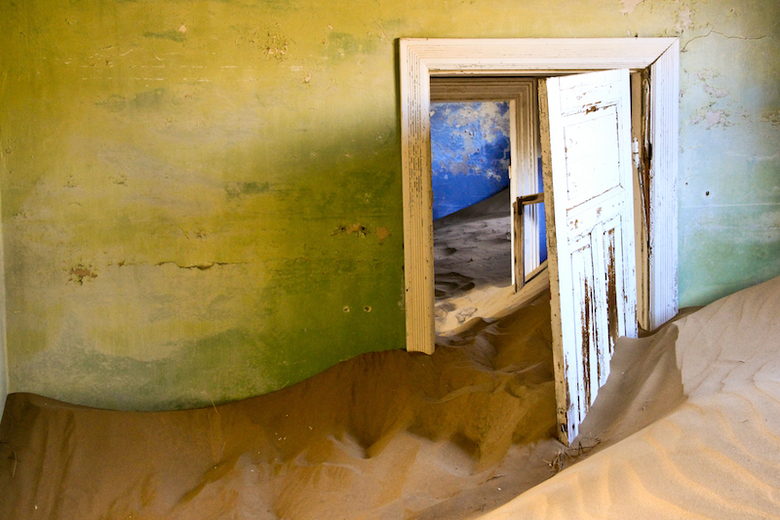 Ghost mining town - Haunted by wind and shrouded in shifting sand.