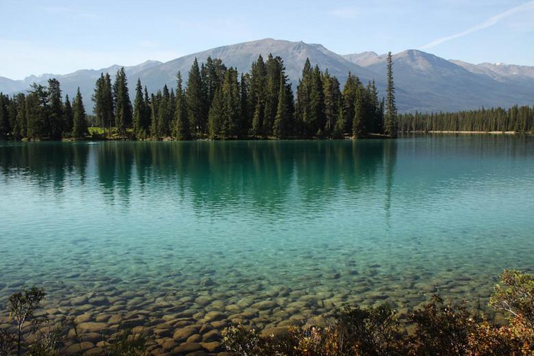 Azuur blauw - Azuurblauw meer met bomen