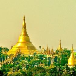 Laatste zonnestralen op de Schwedagon Pagode