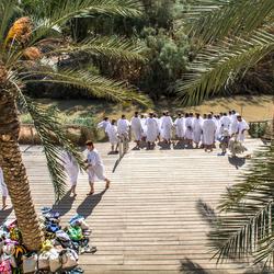 dopelingen in de rivier de Jordaan