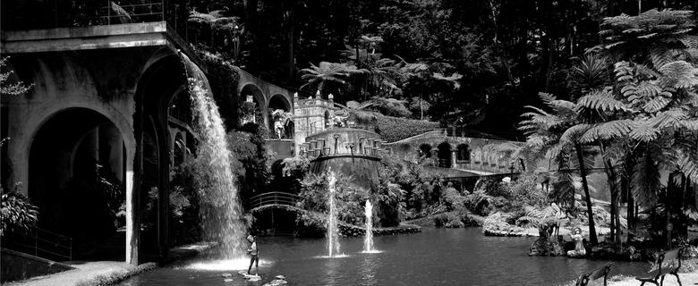 kasteeltuin in Monte, Madeira - Heb van twee fotos deze panorama gemaakt en hem zwat wit gemaakt met extra contrast.