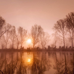 Mistige zonsopkomst vanochtend aan de linge